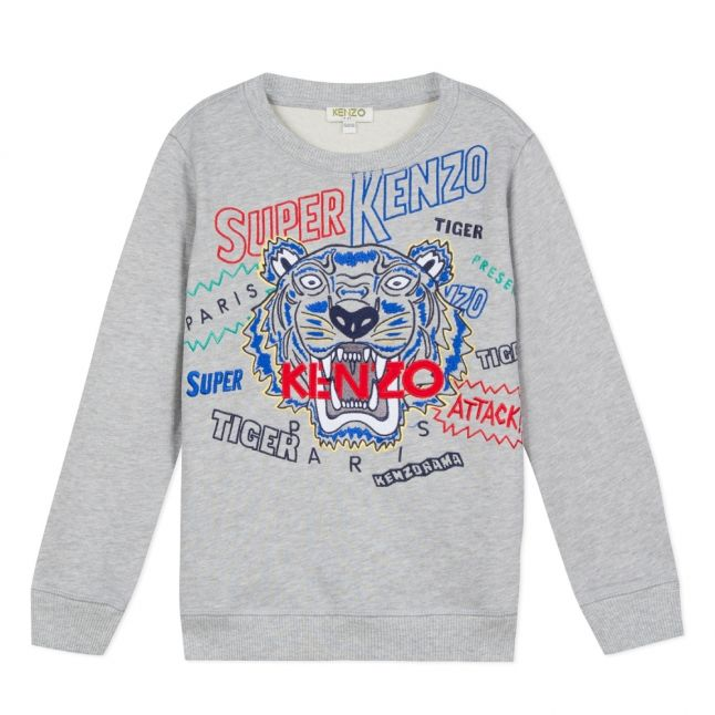 Junior Marl Grey Super Tiger Sweat Top
