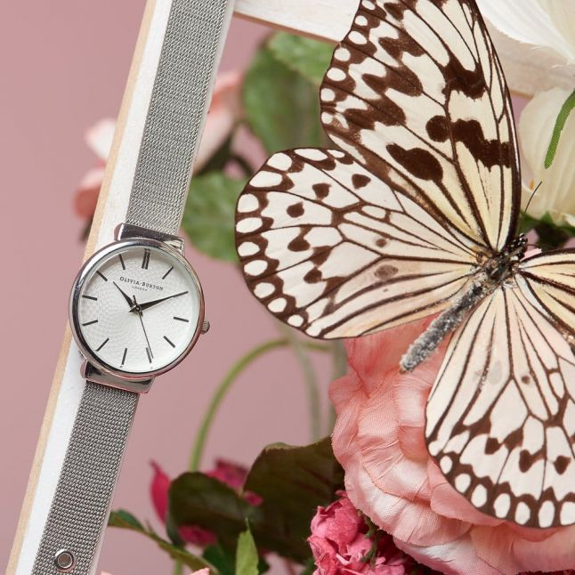Womens Silver The Hackney Mesh Strap Watch