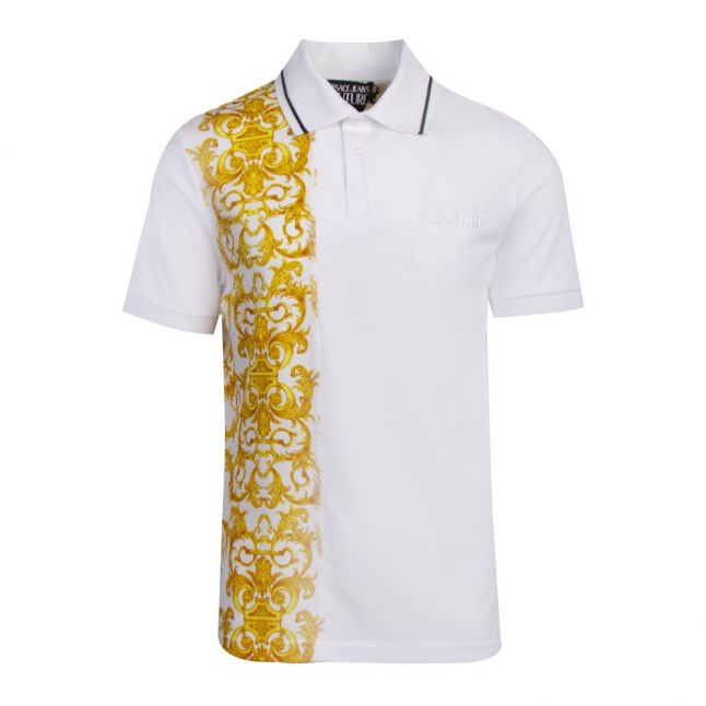 Mens White Baroque Contrast Regular Fit S/s Polo Shirt