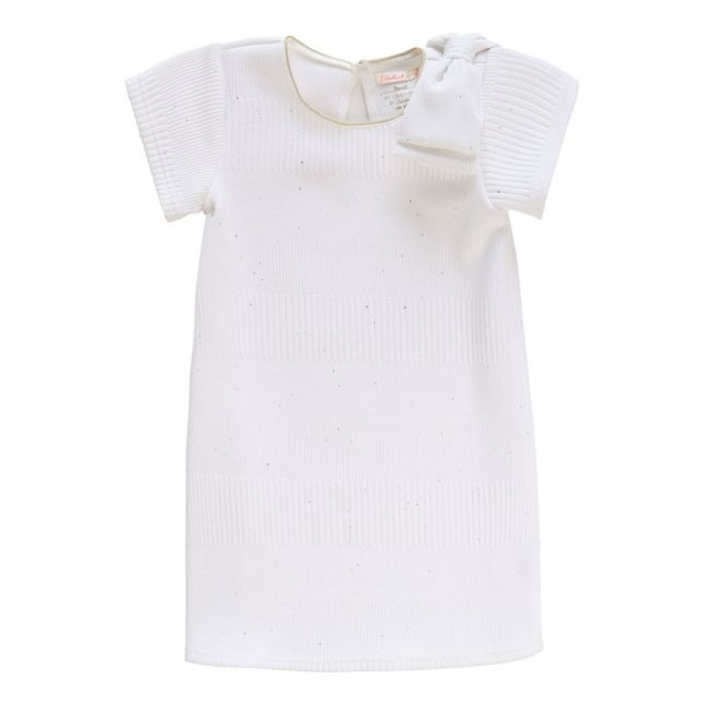 Girls White Ponte Bow Dress