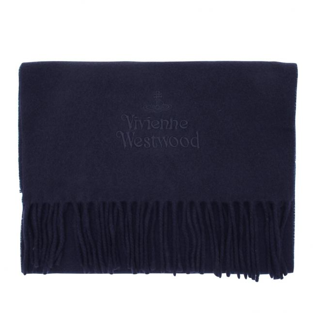 Womens Dark Blue Embroidered Lambswool Scarf