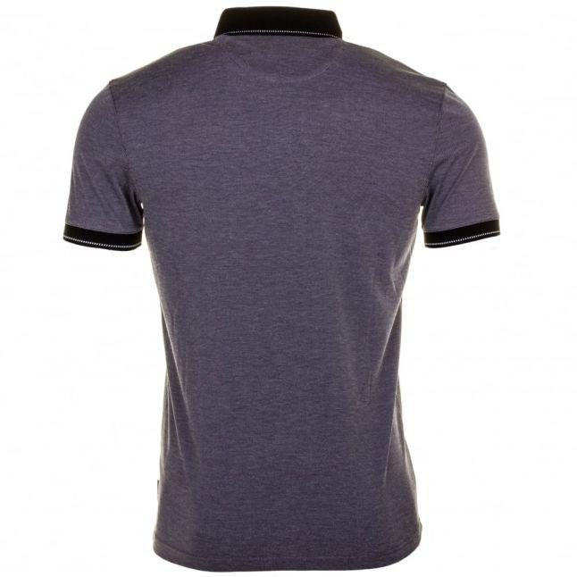 Mens Navy Avo Flat Knit Collar S/s Polo Shirt
