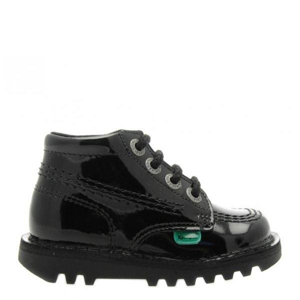 Infant Black Patent Kick Hi Shoes (5-12)