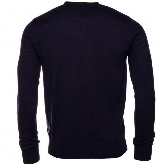 Mens Blue Small Logo Crew Knitted Jumper
