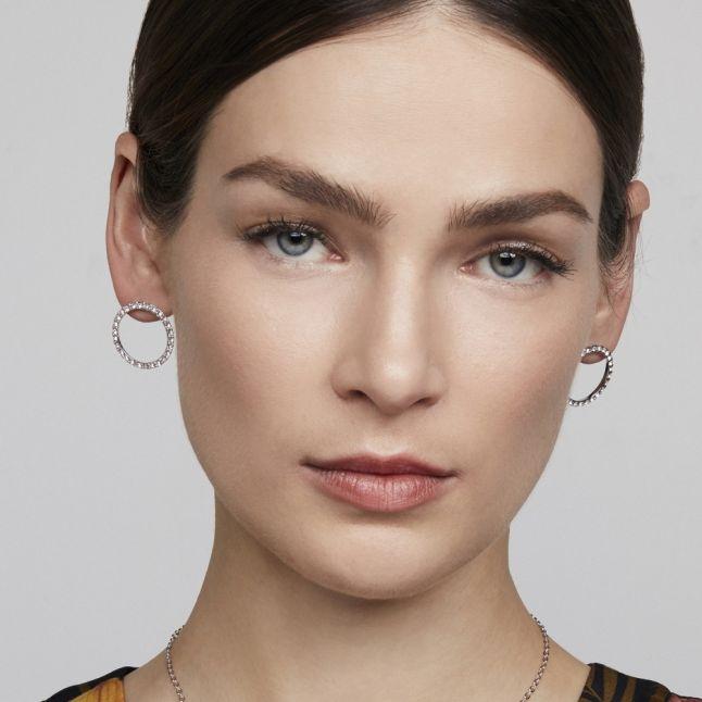 Womens Silver/Crystal Leeza Luunar Circle Earrings