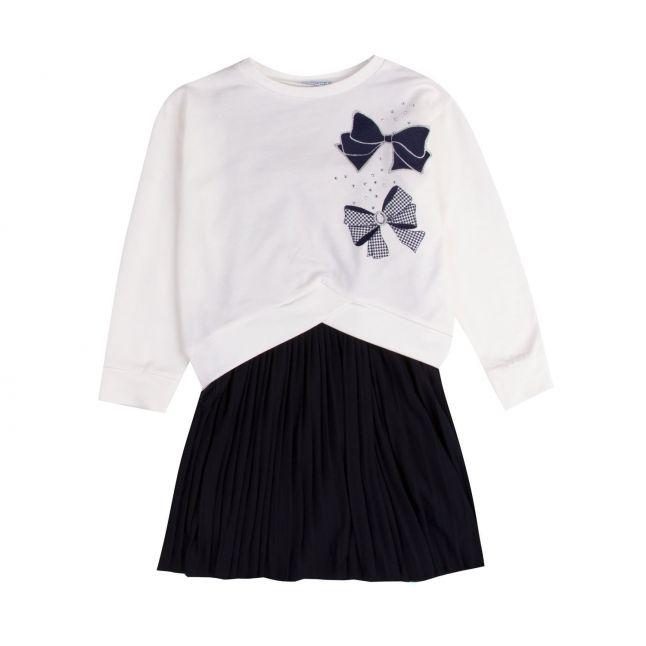 Mayoral Girls Cream/Navy Bows + Pleated Skirt Dress