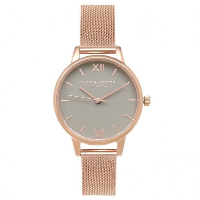 Womens Grey Dial & Rose Gold Mesh Watch