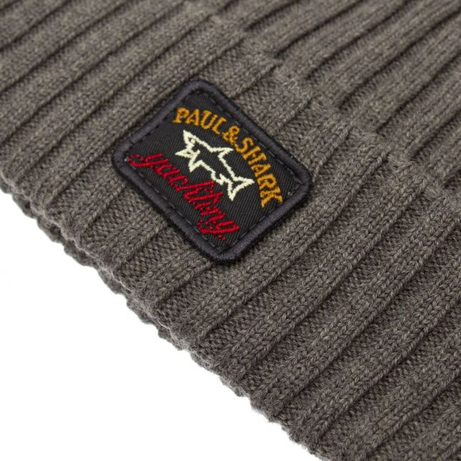 Mens Grey Branded Knitted Hat