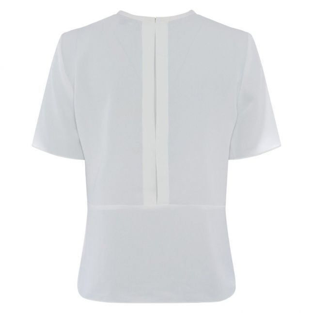 Womens Summer White Emmy Crepe Gathered Top