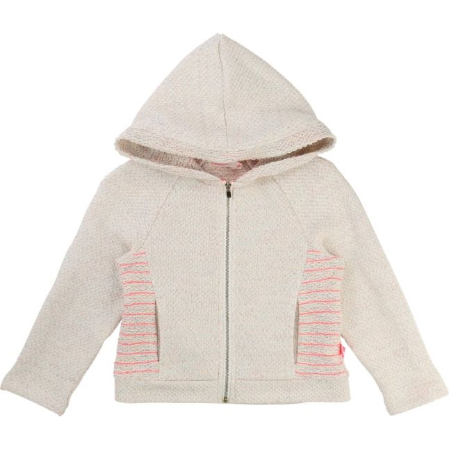 Girls Grey Textured Hood Zip Sweat Top