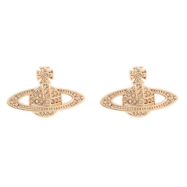 Womens Rose Gold Mini Bas Relief Earrings