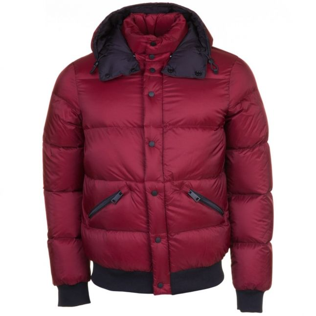 Mens Red Hooded Puffer Jacket