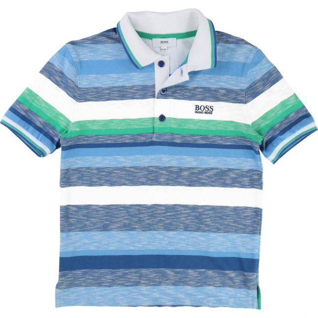Boys Blue & Green Striped S/s Polo Shirt