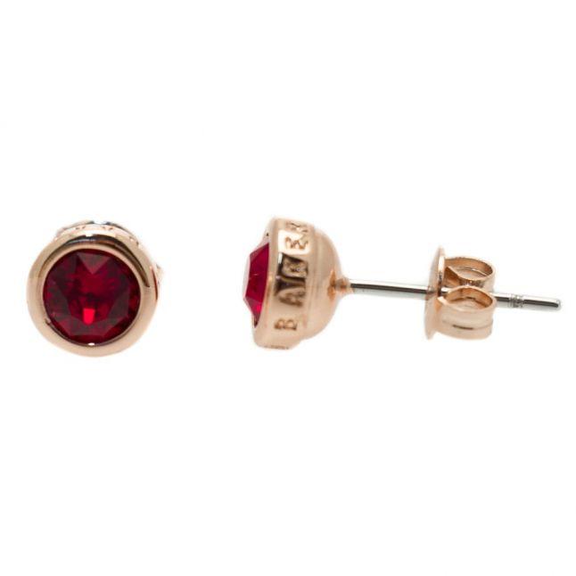 Womens Rose Gold & Burgundy Sinaa Crystal Studs