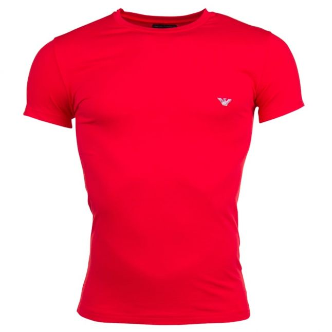 Mens Red Shiny Logo Tee Shirt