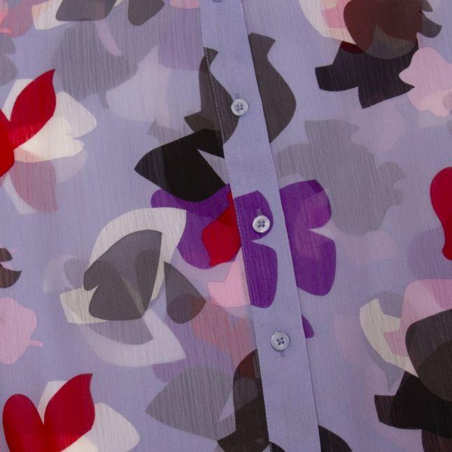 Womens Lilac Petal Chiffon Bow Blouse