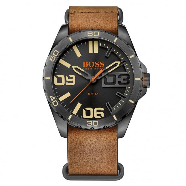 Watches Mens Black Dial Berlin Leather Strap Watch