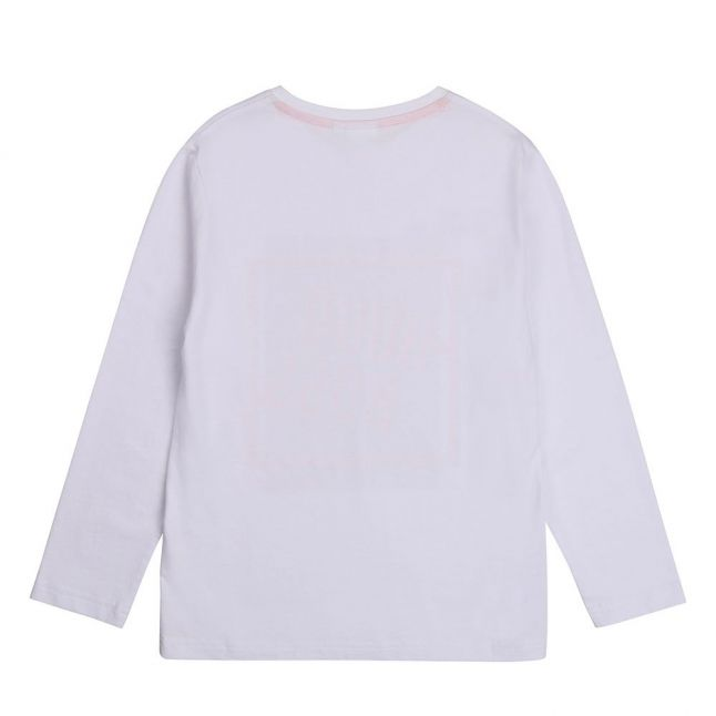 Boys White Graphic Logo L/s T Shirt