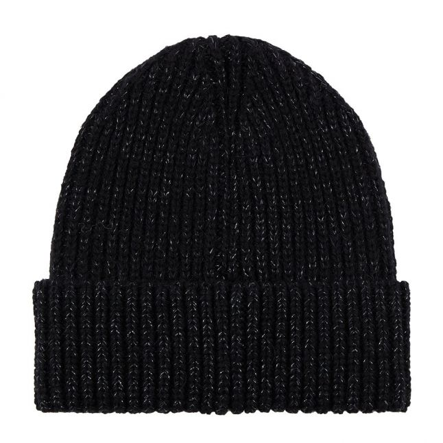 Womens Black Logo Knit Beanie
