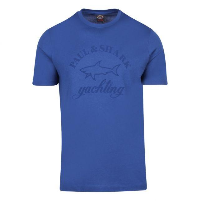 Mens Mid Blue Tonal Logo Custom Fit S/s T Shirt
