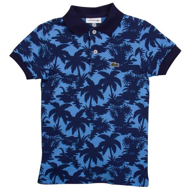 Boys Gcp Blue Palm Print S/s Polo Shirt