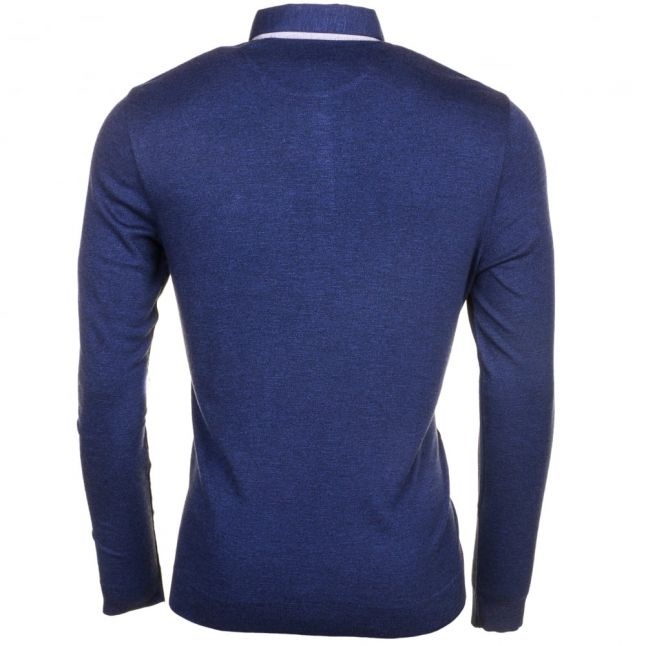 Mens Mid Blue Salvi L/s Polo Shirt