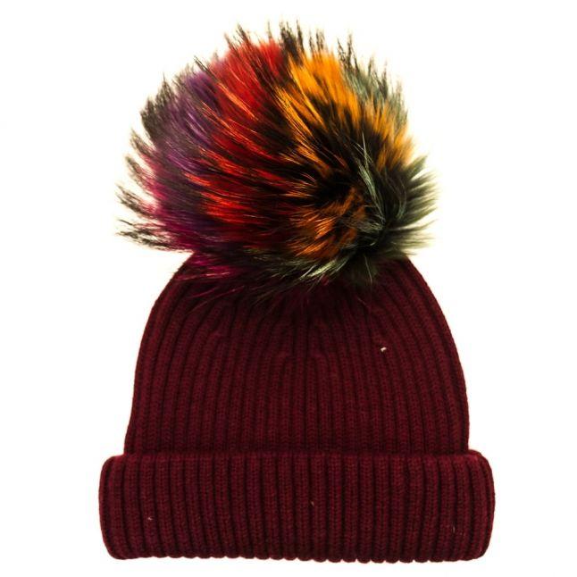 Bklyn Womens Maroon & Rainbow Merino Wool Hat With Changeable Pom