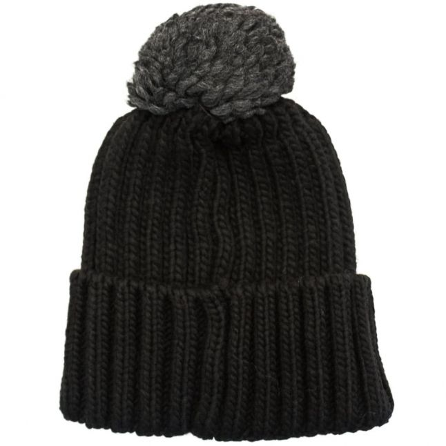 Mens Black Semiury Knitted Hat