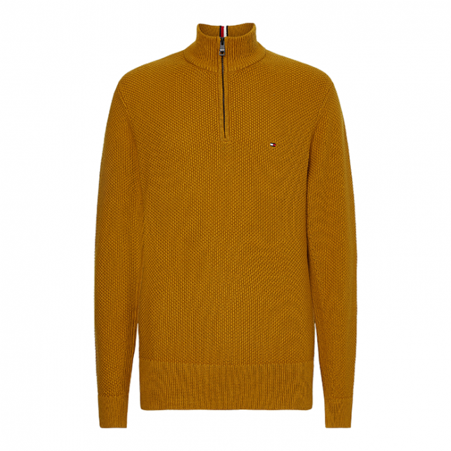 Mens Crest Gold Waffle 1/2 Zip Knitted Jumper
