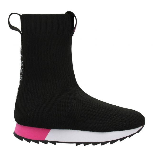 Girls Black Sock Knit Booties (29-38)