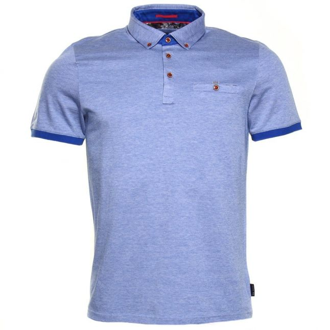 Mens Blue Casanov Oxford S/s Polo Shirt