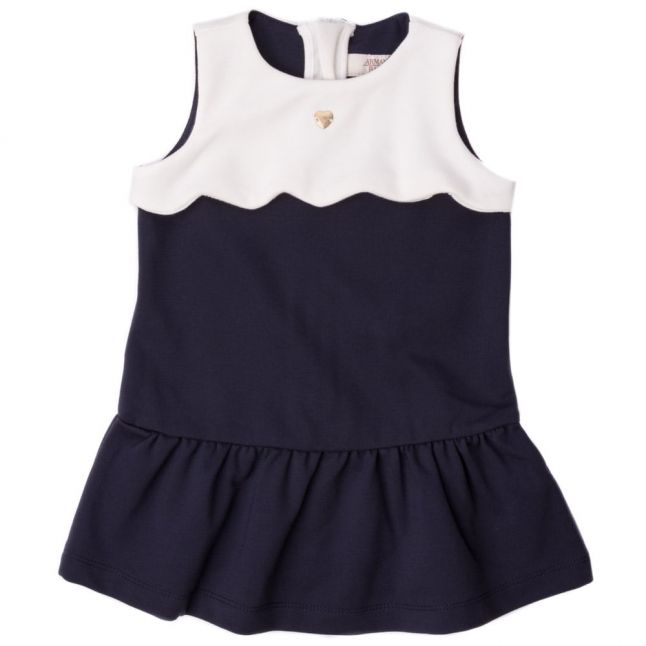 Baby Navy Contrast Scalloped Dress