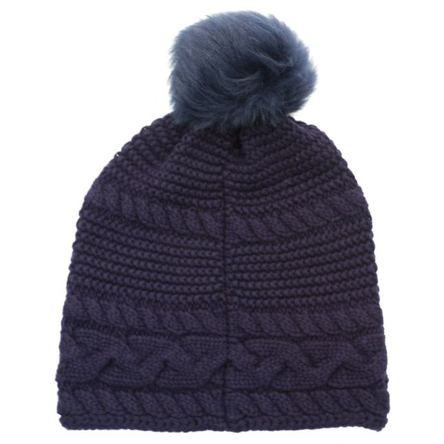 Womens Navy Cable Knit Oversized Beanie Hat