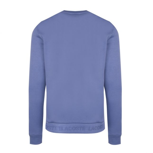 Mens Mid Blue Branded Tape Crew Sweat Top
