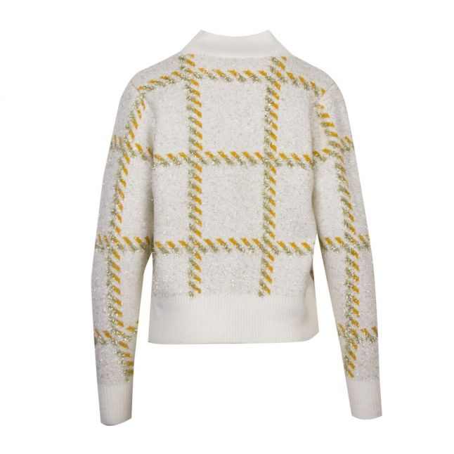 Womens Whisper White Viluxana Tartan Knitted Jumper