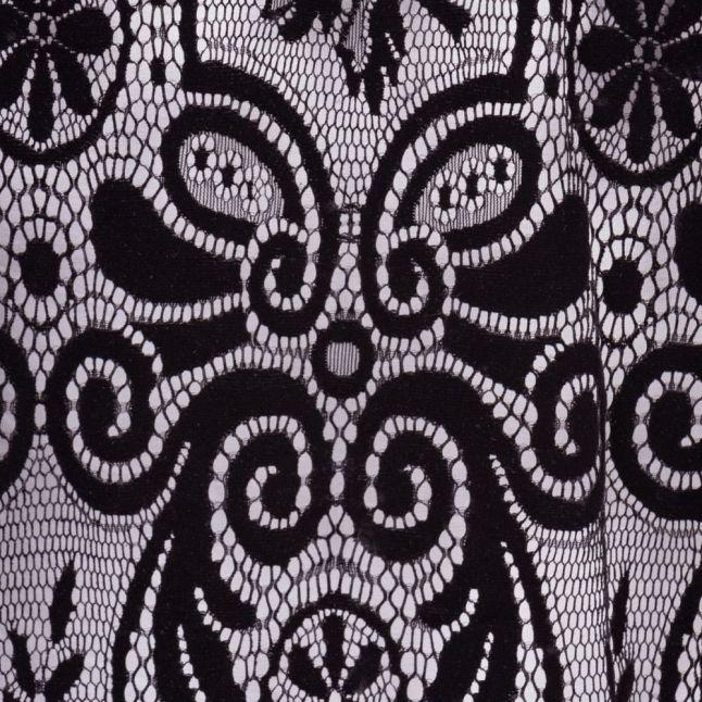 Womens Black Velvet Patterned Sheer Top