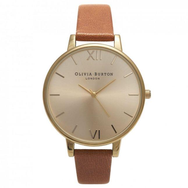 Womens Tan & Gold Big Dial Watch