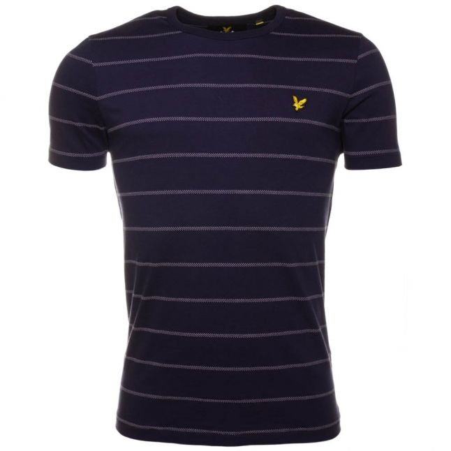 Mens Navy Birdseye Stripe S/s Tee Shirt