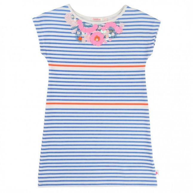 Girls Blue Embellished Striped Dress