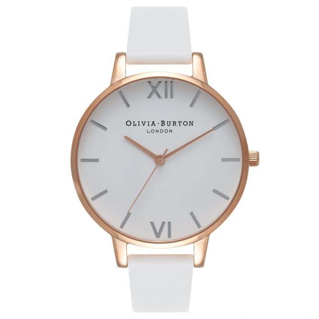 Womens White Rose Gold White Big Dial Watch