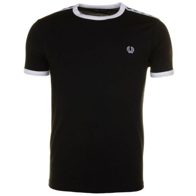 Mens Black Taped Ringer S/s Tee Shirt