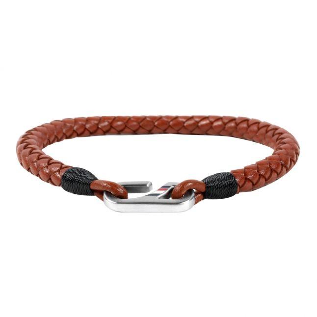 Mens Brown Leather Hook Bracelet
