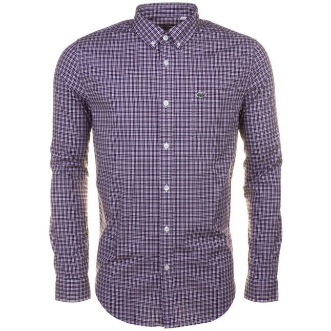 Mens Burgundy Check L/s Shirt