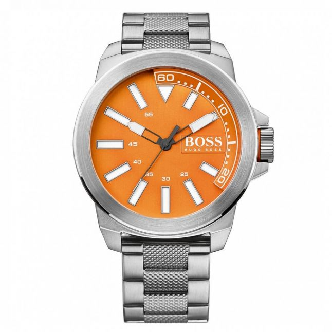 Watches Mens Orange Dial New York Bracelet Strap Watch