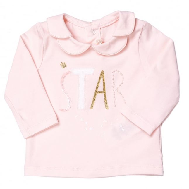 Baby Pale Pink Star Scalloped Collar L/s Tee Shirt