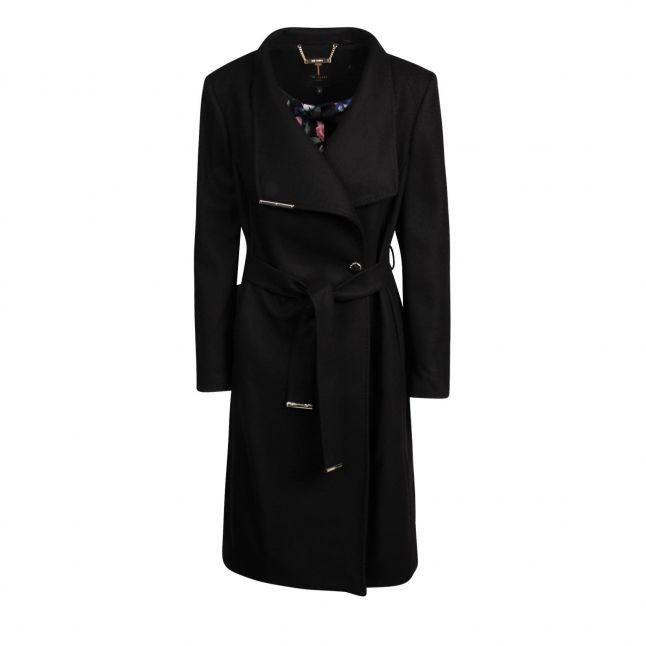 Womens Black Rose Midi Wool Wrap Coat