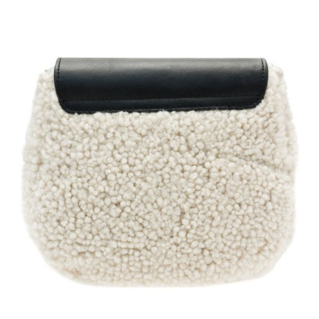 Womens Black & Natural Vivienne Sheepskin Crossbody Bag