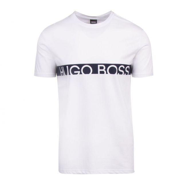 Mens White/Navy Logo Stripe Slim Fit Beach S/s T Shirt