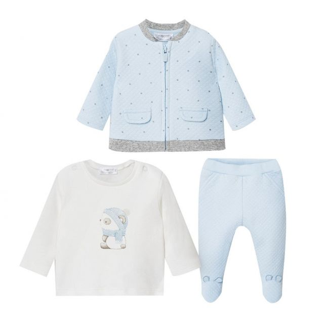 Mayoral Baby Sky Blue Star Quilted 3 Piece Tracksuit