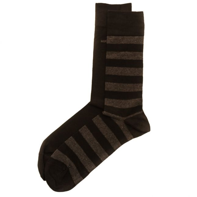 Mens Black Twopack Block Stripe Socks (5-11)